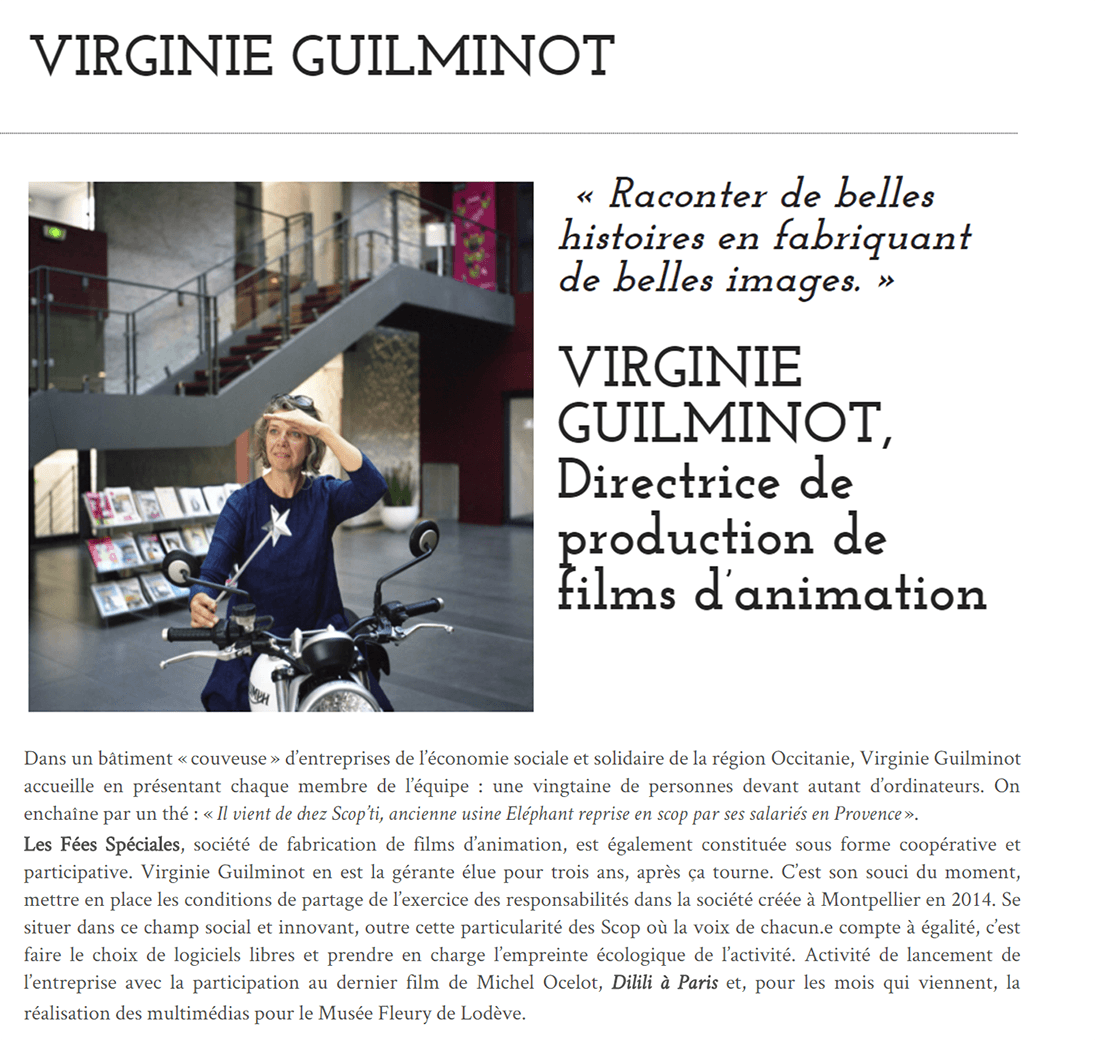 Cpature du début de l'article de fabricants de films sur Virginie Guilminot