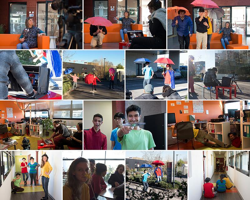 Collage des photos des Fées pendant le tournage de la carte de voeux 2018